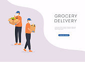 Grocery delivery banner. Safe contactless delivery to home to prevent the spread of the corona virus.