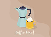 Cup of Fresh Coffee. Vector Illustration. Flat Style.