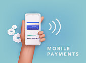 3D Web Vector Illustrations. Hand holding mobile smart phone with online Payment.