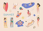 Summer beach cartoon people. Woman performing summer outdoor activities at beach.