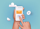 3D Web Vector Illustrations. Hand holding mobile smart phone with mail app. Mail service concept.
