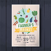 Vegetables farmer market sketch poster. Farm fresh leaflet templates bright vegetables, organic food advertising,