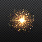 Transparent Golden Glow light effect. Copper lights effects. Sparkle and glitter. Vector illustration.
