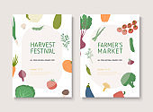 Harvest festival or farmers market flyer. Poster templates with organic vegetables.