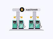 Vector modern flat design gas filling station.