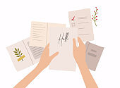 Hands holding paper sheet with handwritten text. Colorful vector illustration in flat style.