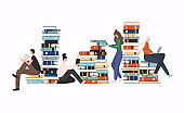 Young stylish people readers sitting on stack of giant books or beside it and reading.