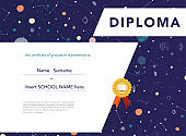 Diploma template for kids. Space background.