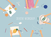 Creative handmade workshop banner.  Drawing, beadwork, embroidering, knitting, scrapbooking.