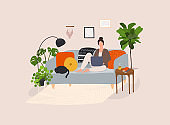 Working at home, coworking space, concept illustration. Cute girl sitting in comfy couch.
