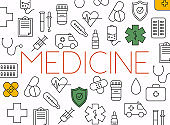 Concept of medicine. Medical equipment and medicament cure.