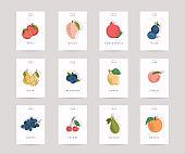 Vector hand drawn fruits posters. Eco foods. Colorful vector icons' set of fruits and vegetables.