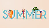 Beach summer travel lifestyle poster in retro style. Women in bikini on a beach. Beach summer travel lifestyle poster in retro style.