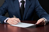 businessman sign a document. business contract or agreement concept.