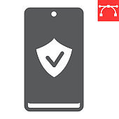 Device security glyph icon, security and protection, smartphone with shield sign vector graphics, editable stroke solid icon, eps 10.