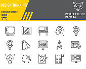Design thinking line icon set, ideation collection, vector sketches, logo illustrations, design thinking icons, design signs linear pictograms, editable stroke.