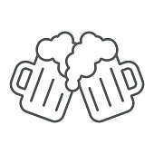 Two glasses of beer thin line icon, st patrick's day and alcohol, toasting beer glasses sign, vector graphics, a linear pattern on a white background, eps 10.