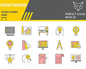 Design thinking color line icon set, ideation collection, vector sketches, logo illustrations, design thinking icons, design signs filled outline pictograms, editable stroke.