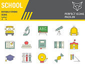 School color line icon set, education symbols collection, vector sketches, logo illustrations, back to school icons, knowledge signs colorful linear pictograms, editable stroke.