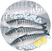 Frozen mackerel fish illustration. Cartoon vector fresh seafood icon on gray gradient background