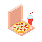 Pizza and soft drink isometric flat design style