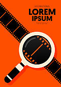 Movie and film poster design template background with magnifying glass and filmstrip