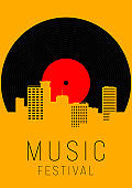 Music poster design template background with vinyl record and urban cityscape