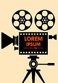 Movie and film poster design template background vintage retro style