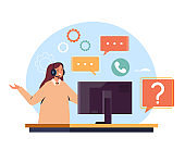 Customer service operator phone call support concept. Vector flat graphic design illustration