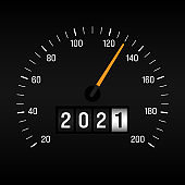 Happy new year 2021 concept background decorative with odometer number counter