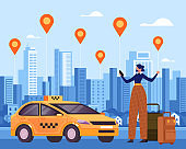 Woman traveler character making order by taxi mobile internet online app and waiting car. Vector flat graphic design illustration
