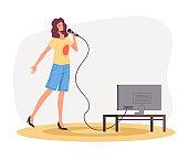 Woman character singing song at home karaoke. Vector flat graphic design illustration
