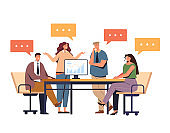 Business people office workers characters collective team thinking. Working project process concept. Vector flat graphic design illustration