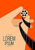 Movie and film poster design template background with human hand holding filmstrip