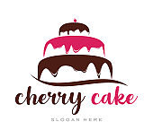 cherry Cupcake Cream icon - stock vector