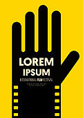 Movie and film poster design template background human hand and filmstrip