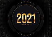 Happy new year 2021 concept decorative with luxury gold background