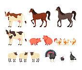 Farm animals isolated set. Vector flat graphic design cartoon illustration