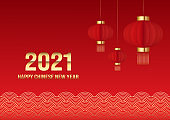 Chinese new year concept background decorative with red lantern and line wave pattern