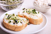 Toasts with cream and radish microgreen
