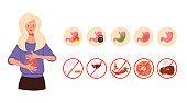 Gastritis symptoms concept. Vector flat cartoon graphic design illustration