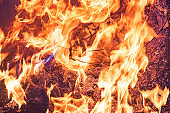 The fire, burning debris, there is no focus. Large burning fire.