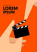 Movie and film poster design template background with human hand and clapperboard