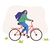 Happy smiling woman character riding bike. Vector flat graphic design illustration
