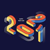 Happy new year 2021 background decorative with isometric geometric typography