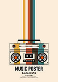 Music poster design template background decorative with retro portable boombox outline