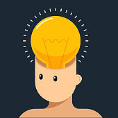 Creative thinking idea and brain training concept flat design style decorative with human head and light bulb