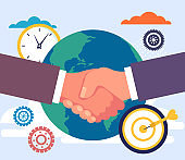 Global business deal agreement handshake concept. Vector flat cartoon graphic design illustration