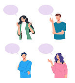 People characters talking isolated set. Vector flat graphic design illustration