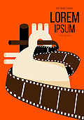 Movie and film poster design template background with filmstrip and heart